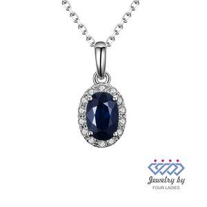 Halo Diamond Blue Sapphire Oval Pendant White Gold
